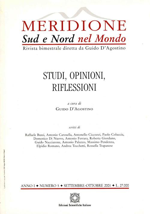 Meridione Sud e Nord Nel Mondo 2001