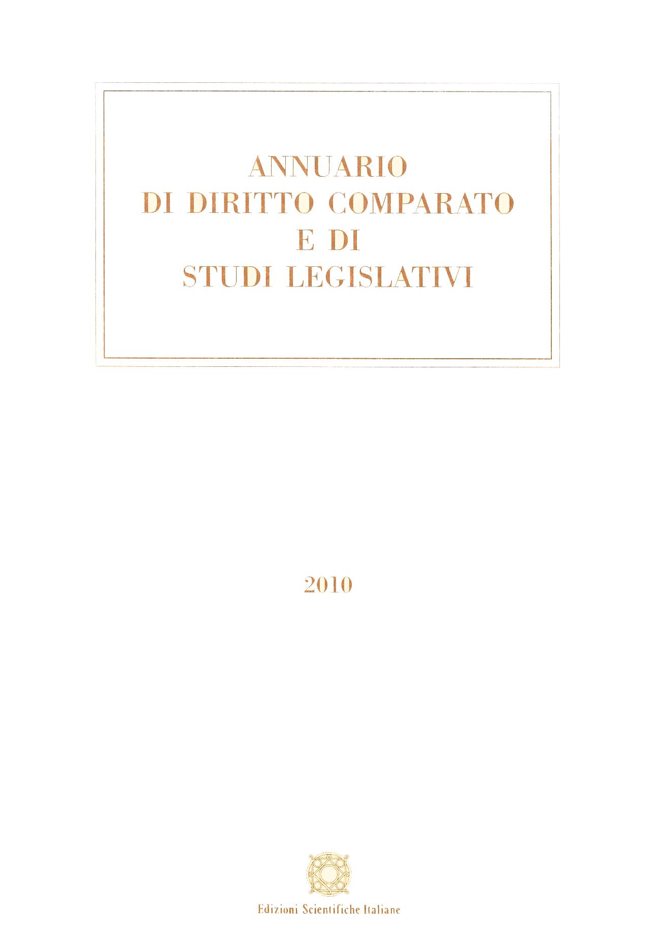Annuario di Diritto Comparato e di Studi Legislativi 2010